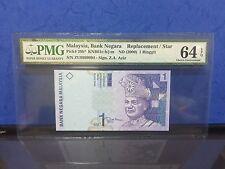 "2000 Malaysia,Bank Negara RM 1 Ringgit P-39b* ""REPLACEMENT/STAR"" PMG 64 EPQ"