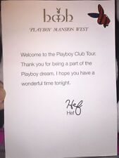 $200.+  Signed Hef Playboy Mansion West Club Tour party + bunny pin -RIP HEFNER