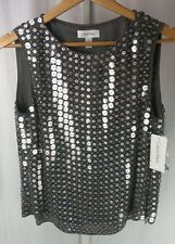 NWT Calvin Klein Mirror All Over Frosted Sequins Silk Top Blouse US 6 $395