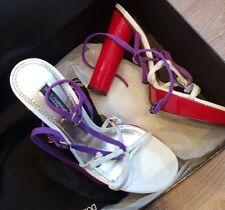 DOLCE & GABBANA Plateau Woven Sandals  8B419 viola/rosso 37, UK 4