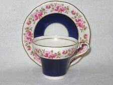 AYNSLEY COBALT BLUE PINK ROSES CORSET TEA CUP AND SAUCER ARTIST SIGNED