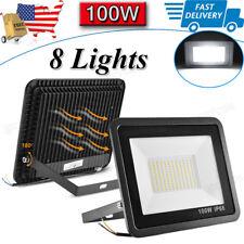 New listing 8X 100W Led Flood Light Outdoor Spotlight Garden Yard Square 6000K Cool White