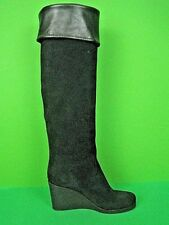 VICINI ITALY Black Suede/Leather Knee-High Wedge Boots (37) 7 $1,250 NEW