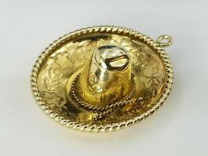 Sombrero Mexico Hat 14k Yellow Gold Charm Pendant