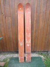 "VINTAGE Set of Wooden 70"" Long Waterskis Water Skis Signed BRYDON BOY"