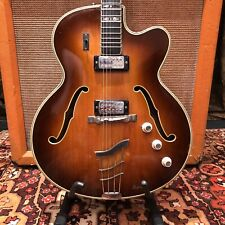 Vintage 1960s Hofner Committee Thinline Brunette Electric Guitar 5.5lbs w/ Case