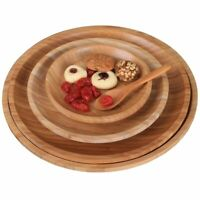 Flat Wooden Dish Tableware Round Dinner Tray Food Containers For Kitchen Utensil