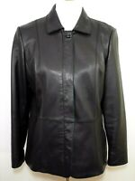 PRESTON & YORK Women's Mp  Black Lamb Skin Leather Zipped Jacket Coat SUPER SOFT