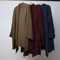 Mens Chinese Retro Causal Long Sleeve Tops Cotton Linen Cardigan Cloak Coat Tops