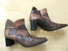 RIVA, BROWN & TAN LEATHER ZIP-UP ANKLE BOOTS, MID HEEL, SIZE 40