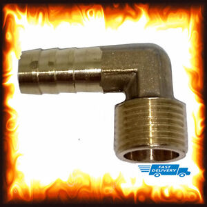 """3/8"""" BSP 8mm Elbow Male Barb Hose Tail Fitting Fuel Air Gas Water Hose Oil"""