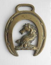 Victorian Brass SADDLE Decoration: Wild Horse in Horseshoe