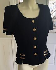 St John Size 4 Black Suit Blazer Jacket Gold Metal Buttons Short Sleeve Knit Top