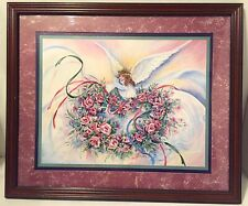 Homco Home Interiors Wood Frame Angel Picture By Fbuckley Burgundy, Hunter Green
