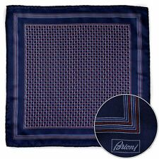 Men's BRIONI Red Blue Swirl Silk Hand Made Rolled Pocket Square Handkerchief