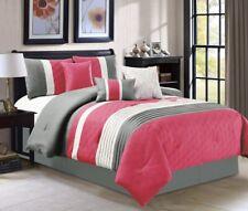 7Pc CAL King Size Modern HOT PINK WHITE GREY Pin Tuck Embossed  Comforter Set
