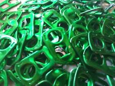 SQUARE HEAD SHAPED STAMPED  ALUMINUM TABS - 100 GREEN TABS PULL TABS