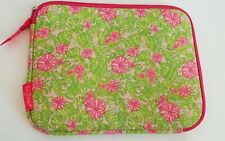 """Lilly Pulitzer iPad Tablet Case Pink Green Neopren Tech Sleeve Floral 10"""""""