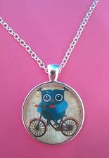 Owl on a Bicycle Silver Plated Pendant Glass Necklace New in Gift Bag Christmas