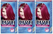 Schwarzkopf Live Ultra Brights 091 Raspberry Rebel Semi-Permanent Hair Dye x 3