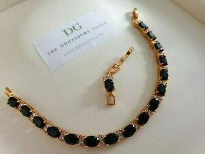 Yellow gold finish oval black onyx and created diamonds tennis bracelet gift