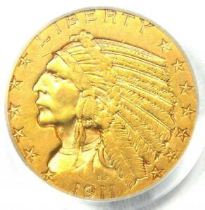 1911-D Indian Gold Half Eagle $5 Coin - Certified PCGS XF45 (EF45) - Rare Date!