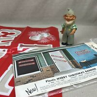 "Plastic ""Merry Christmas"" Banner Vintage Philipp Sales Red Indoor Outdoor"