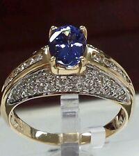 14k gold fine ring with gemstone& diamonds 0.45ct diamonds1.00ct AAAA Tanzanite