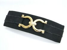Salvatore Ferragamo Hair Clip Barrette Gancini Gold Tone Black 13170177500 K