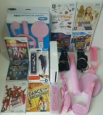 Wii Console All Singing Dancing 2 PLAYER Gift Bundle for Girls/Mum +Pink remote