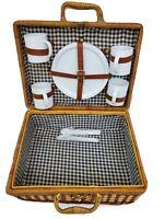 VTG Wicker Picnic Basket 4 Person Flatware Cups
