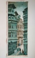 painting oil on canvas knife medium. original painting old city lahore architect