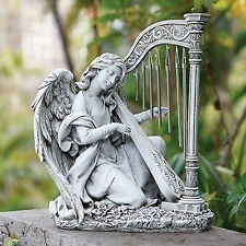 "15"" Kneeling Angel Playing Harp Wind Chime Garden Statue Joseph's Studio 66878"