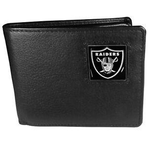 Las Vegas Raiders Leather Bi-fold Wallet W/ Flip ID Window