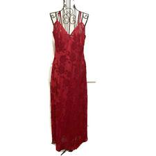 Vintage Victorias Secret Red Burnout Textured Nightgown Negligee Size Large