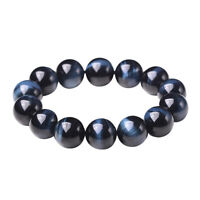 8mm Women Men Blue Tiger Eye Bracelet Natural Stone Beads Charm Jewelry Gift US