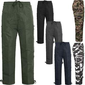 Mens Thermal Fleece Lined Cargo Bottoms Elasticated Trousers Combat Work Pants