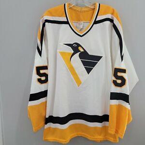 Rare VTG CCM NHL Pittsburgh Penguins Ulf Samuelsson 5 Jersey Mens 2XL White