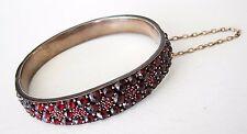 AMAZING Antique Bohemian/Czech Victorian Rose Cut Garnet Gold Fill Bracelet Vtg