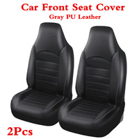 2Pcs Car Front Seat Cover Gray PU Leather High Back Bucket Protector Cushions