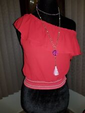 juniors red one shoulder top nwt