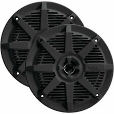 "NEW (2) 5.25"" Marine Boat Speakers.Pair.Water Black.Flush Mount.5-1/4.waterproof"