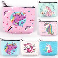 Girls Women Cartoon Unicorn Cute Mini Coin Purse Zippered Wallet Card Holder Bag