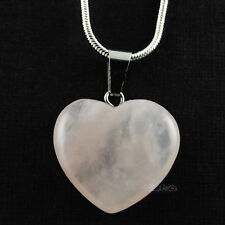 "Pretty Pink Rose Quartz Heart Pendant 18"" Silver Plt Snake Chain Necklace 34"