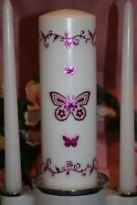 Pink Butterfly Floral White Wedding Unity Candle Set Plus Tapers