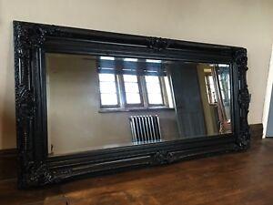 Matt Black Ornate Large French Boudoir Statement Over mantle Wall Mirror 4ft 3ft