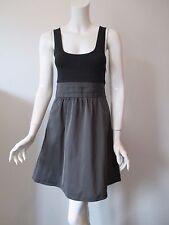 Theory Gray Black Low Scoop Neck Empire Waist Sleeveless Tank Dress 0