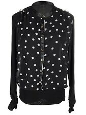 Women S/M Fit Black Sheer Polka Dotted Transparent Back Front Button Top