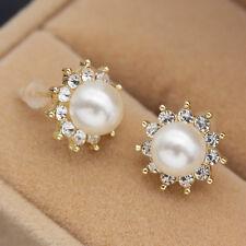 Elegant White Pearl Crystal Earrings Gold Alloy Popular Women Ear Studs Jewelry