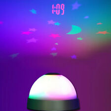 Color Change Table Clock LED Star Night Light Magic Projection Projector Alarm
